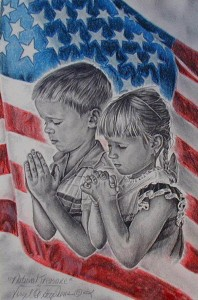 children pray with flag
